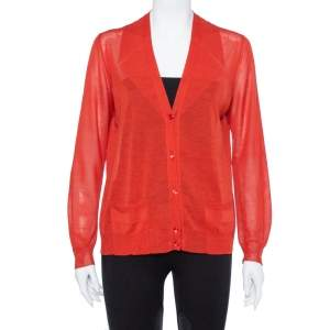 Yves Saint Laurent Burnt Orange Cotton Silk Cardigan L