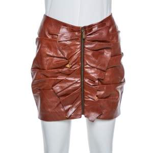 تنورة ميني سان لوران سحاب أمامي تفاصيل مكشكشة جلد بنية صغيرة