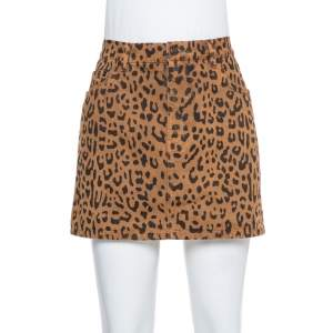 Saint Laurent Paris Brown Leopard Printed Denim Mini Skirt M