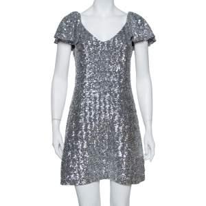 فستان سان لوران باريس أكمام منفوشة مزخرف ترتر فضي مقاس وسط ( ميديوم)