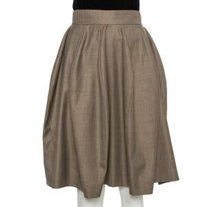 Yves Saint Laurent Beige Wool & Silk A-Line Skirt S