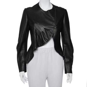 Saint Laurent Paris Dark Brown Leather Asymmetric Hem Cropped Jacket M