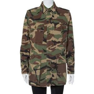 Saint Laurent Paris Green Cotton Camouflage Utility Jacket XL
