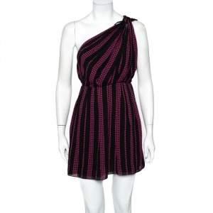 فستان سان لوران باريس قصير طتف واحد شيفون مطبوع نجوم أسود مقاس وسط (ميديوم)