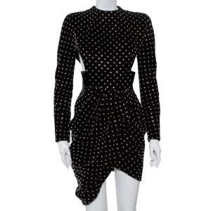 فستان ميني سان لوران باريس قطيفة أسود مزخرف كريستال تفريغات مزينة ملتف مقاس متوسط - ميديوم