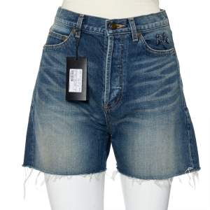 Saint Laurent Paris Navy Blue Denim Frayed Hem Shorts M