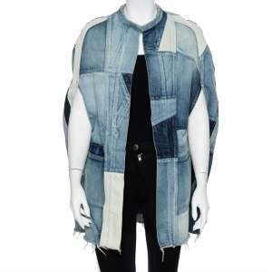 Saint Laurent Paris Blue Denim Patched Open Front Cape S