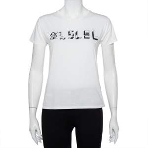 Saint Laurent Paris White Cotton Logo Printed T-Shirt S