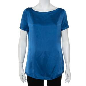 Yves Saint Laurent Blue Silk Satin Boat Neck Top M