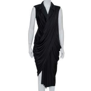 Yves Saint Laurent Black Knit Collared Draped Asymmetrical Hem Sleeveless Dress M