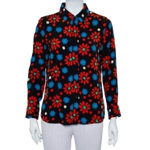 Saint Laurent Paris Black Floral Printed Crepe Shirt L