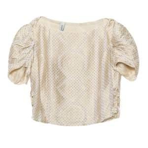 Yves Saint Laurent Cream Patterned Silk Top S
