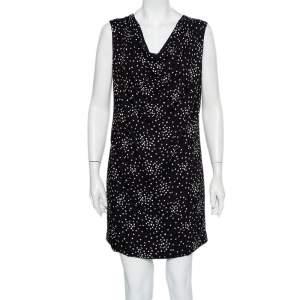 Saint Laurent Paris Black Star Printed Twill Draped Neck Sleeveless Shift Dress M