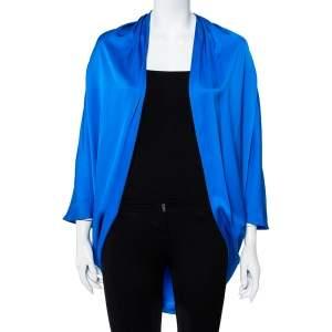 Yves Saint Laurent Edition Soir Blue Silk Satin Open Front Shrug M