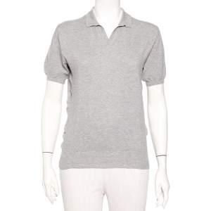 Yves Saint Laurent Grey Cotton Knit Collared T-Shirt M