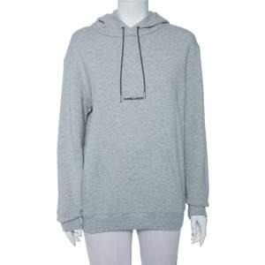 Saint Laurent Paris Grey Logo Printed Cotton Knit Hoodie S