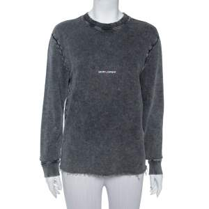 Saint Laurent Paris Charcoal Washed Out Cotton Frayed Hem Distressed Sweatshirt S