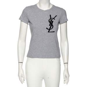 Yves Saint Laurent Grey Cotton Logo Detail T-Shirt XS