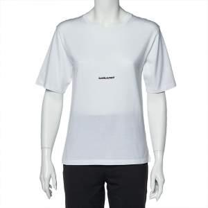 Saint Laurent Paris White Logo Print Cotton Round Neck T-Shirt XS