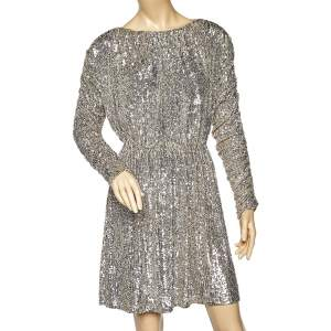 Saint Laurent Silver Sequin Embellished Mini Dress M