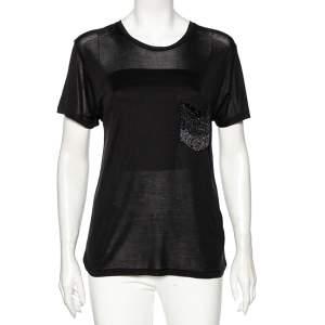 Saint Laurent Black Silk Embellished Pocket Detailed Short Sleeve T-Shirt S