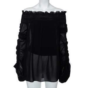 Saint Laurent Black Silk Smocked Oversized Off Shoulder Blouse L
