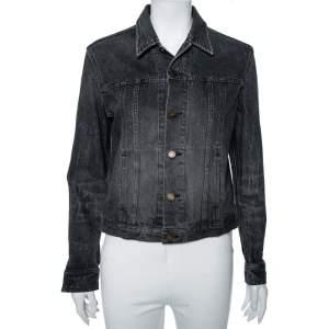 Saint Laurent Faded Grey Heart & Lightening Bolt Patch Applique Denim Jacket M