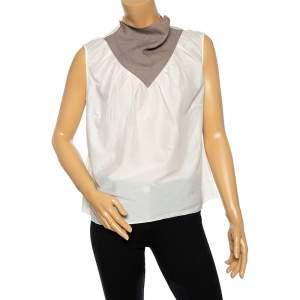 Saint Laurent Off White Cotton Contrast Neck Detailed Top XL