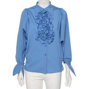 Yves Saint Laurent Blue Cotton Ruffled Neck Detail Button Front Shirt M