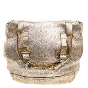 Yves Saint Laurent Metallic Gold Leather Besace Shoulder Bag