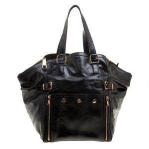 Yves Saint Laurent Black Patent Leather Medium Downtown Tote