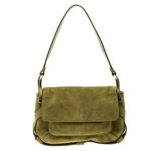 Yves Saint Laurent Green Suede Shoulder Bag