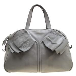 Yves Saint Laurent Grey Leather Large Obi Bowler Bag