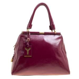 Yves Saint Laurent Burgundy Patent Leather Medium Majorelle Satchel