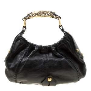 Saint Laurent Black Leather Vincennes Mombasa Hobo