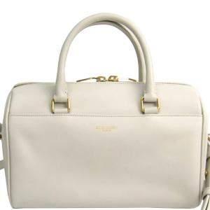 Saint Laurent Paris Ivory Calfskin Leather Classic Baby Duffle Bag