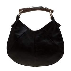 Yves Saint Laurent Dark Brown Leather Mombasa Horn Hobo