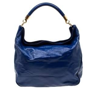 Yves Saint Laurent Royal Blue Patent Leather Roady Hobo
