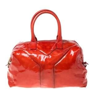 Saint Laurent Paris Red Orange Patent Leather Medium Easy Y Bag