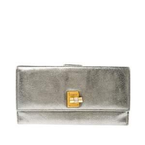 Yves Saint Laurent Grey Metallic Leather Turn Lock Flap Wallet