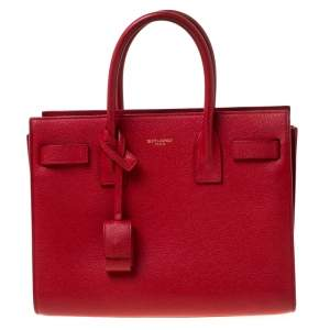 Saint Laurent Red Leather Baby Classic Sac De Jour Tote