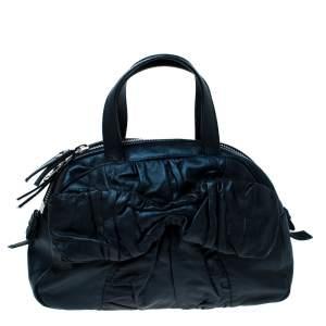 Saint Laurent Paris Dark Navy Blue Pleated Bow Leather Satchel