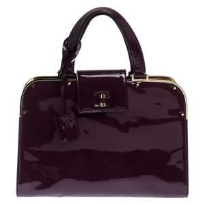 حقيبة سان لوران باريس أبتاون جلد لامعة بنفسجية كبيرة