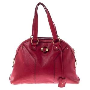 Yves Saint Laurent Red Leather Medium Muse Satchel