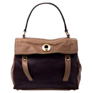 Yves Saint Laurent Tri Color Leather and Suede Muse Two Satchel