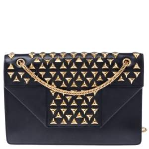Saint Laurent Paris Black Leather Studded Betty Shoulder Bag