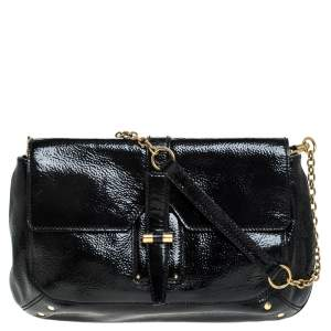 Saint Laurent Paris Black Patent Leather Emma Chain Shoulder Bag