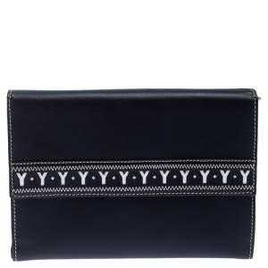 Yves Saint Laurent Navy Blue Leather Bifold Wallet