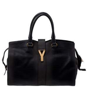 Yves Saint Laurent Dark Grey Leather Medium Cabas Y-Ligne Tote
