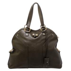Saint Laurent Olive Green Leather Oversized Muse Satchel